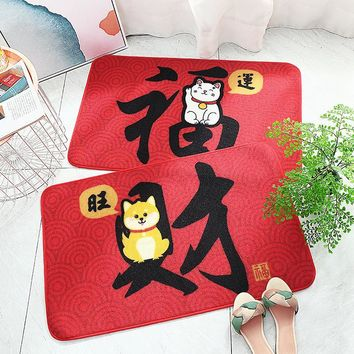 Autumn Fall welcome door mat doormat New s for Entrance Door Blessing Red Lucky Cat Pattern Carpets Living Room Dust Proof Mats Home Decor Chinese Style AT_76_7