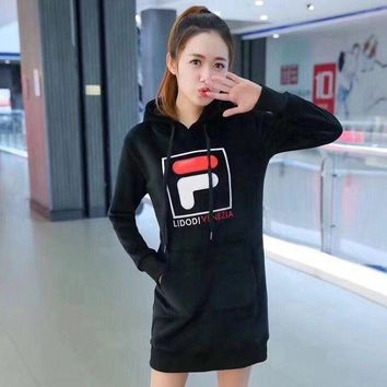 DCCKV3X FILA Fashion Print Long Sleeve Mini Dress