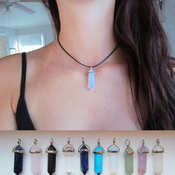 Natural Crystal Point Pendant Necklace Real Black Leather Choker Bullet Necklace Handmade Gypsy Boho Jewelry +gift box