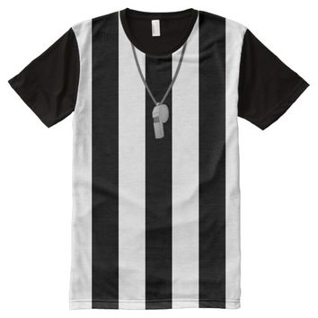Referee With Whistle Hockey Football Shirsey All-Over Print T-shirt