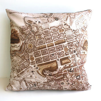decorative pillow cushion  city map EDINBURGH by mybeardedpigeon