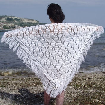 10% discount with coupon code SLAVENA Crochet Pineapples Lace Scarf Poncho White, Snow White, Pineapple Warm Poncho Ready To Ship