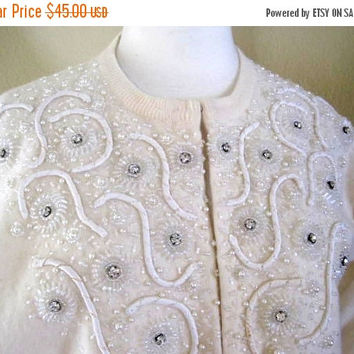 50s Cream Sweater Rhinestone Beaded Lambs Wool Cardigan