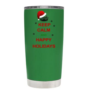 TREK Keep Calm and Happy Holidays on Kelly Green 20 oz Tumbler Cup