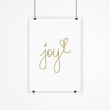"Fashion Print ""Joy"" Faux Gold Home Decor Typography Quote Fashion Illustration"