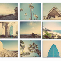 Set of 9 Surf Beach Decor Canvas prints, beach photos, , yellow, turquoise, sunset, retro, vintage surf home decor, beach wall art