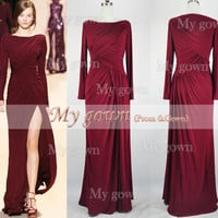 Long Sleeves Floor Length Burgundy Prom Dress, Wedding Dress,Evening Dress,Formal dress