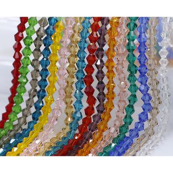 European Murano Crystal Beads 4mm Bicone 220pcs/lot Faceted Glass Spacer Loose Czech Beads For Jewelry Making DIY Bracelet