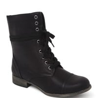 Black Poppy Contrast Zip Lace Up Boots - Womens Boots