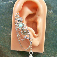Customizable Silver Ear Cuff with Chain & by HeatherJordanJewelry