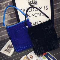 Tassels One Shoulder Backpack Bags Simple Design Stylish Matte Casual Fashion Tote Bag [6582519943]