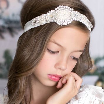 Scarlett White Crystal Jewel Headband