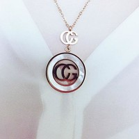 GUCCI fashion hollow-out letter shell pendant necklace women titanium steel rose gold decorative gifts