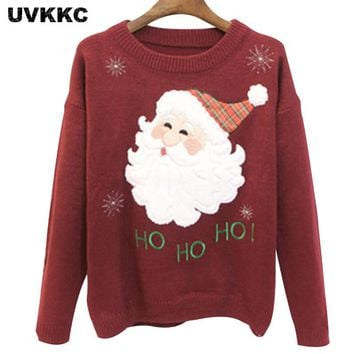 UVKKC Women Sweaters And Pullovers Christmas Pull Femme New Year Casual Tops Knitted Jumpers O Neck Long Sleeve Cartoon Sweater