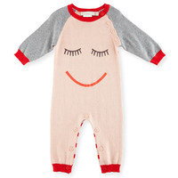 Stella McCartney Tommy Knit Coverall w/ Face Print, Size 3-9 Months