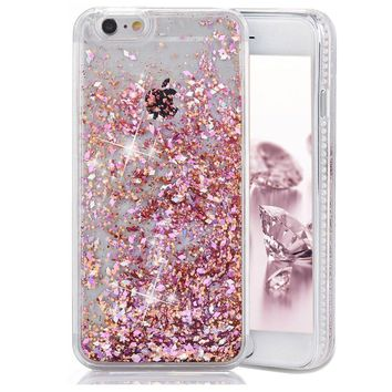 iPhone 6 Case, iPhone 6S Case, Crazy Panda 3D Creative Luxury Bling Glitter Sparkle Case Infused with Glitter and Stars Moving Quicksand Hard Case For Iphone 6/Iphone 6S - Pink Diamonds
