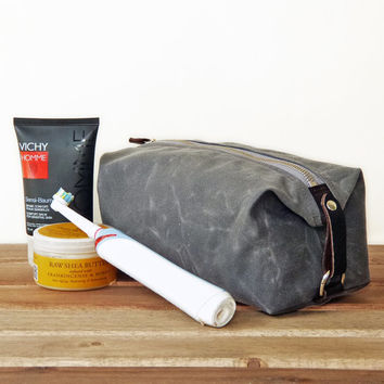 Toiletry Bag for Men, Travel, Groomsmen Gift, Waxed Cotton Canvas and Leather Dopp Kit, Handmade, Personalized, Shown in Gray and Warm Black