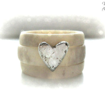 Antler ring, stacking rings, rustic silver heart, wedding band, fairytale wedding