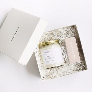 Minimalist Candle + Matchbox Gift Set
