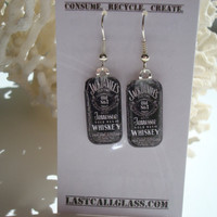 Jack Daniels Photo Earrings FREE Shipping by TheLastCallGlass