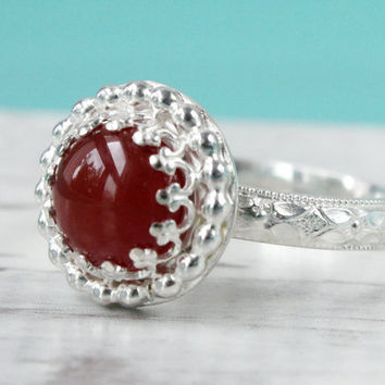 Red carnelian ring sterling silver 3 mm wide floral diamond pattern band 8 mm gemstone in a crown gallery wire setting