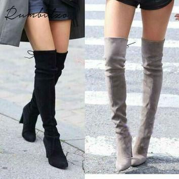 Rumbidzo Women Stretch Suede Slim Thigh High Boots Sexy Fashion Over the Knee Boots Hi