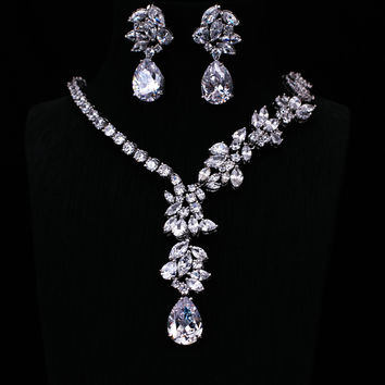 Platinum Plated AAA Clear Cubic Zircon Earrings /Necklace