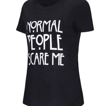 Casual Normal People Scare Me Short Sleeve T-Shirt