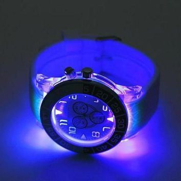 LMFUX5 Geneva Woman Men Fashion Luminous LED Light Quartz Movement Watch
