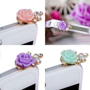 Flowers Pearl Crystal Diamond Anti Dust Resistant Plug Cap Stopper for Phones