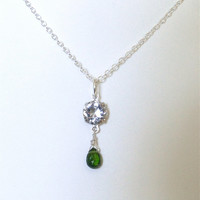 Crystal necklace. Art Deco. Pendant Emerald green, Chrome Diopside.