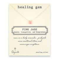 healing gem pink jade necklace, sterling silver