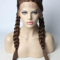 Long Braided Chocolate Brown Synthetic Lace Front Wig