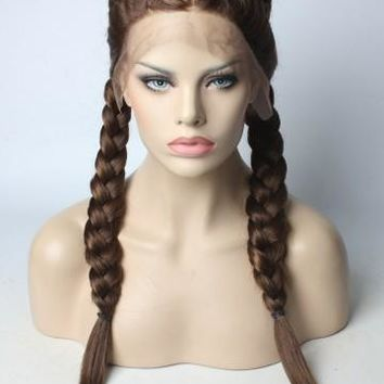 Long Braided Brown Synthetic Lace Front Wig