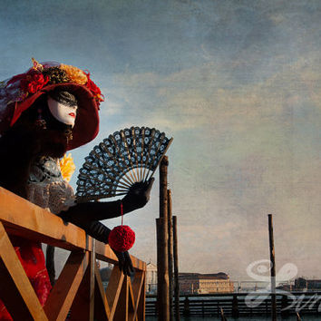 Romantic Lady with Mask in Venetian Masquerade Dress Colorful Wall Art Print  Photo Extra Large  Fine Art Print Colorful Photography Decor