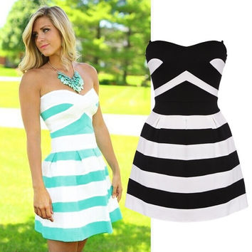 HOT SALE 2015 Summer New Fashion Striped Bras Party Dress Slim Cute Dress For Lady S-XL ( Black Blue ) = 1932345348