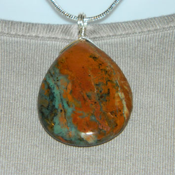 80ct. Multi Color Stone, Semi Precious, Agate, Pendant, Necklace, Teardrop, Natural Stone, 133-15