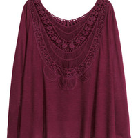 Jersey Top with Lace - from H&M