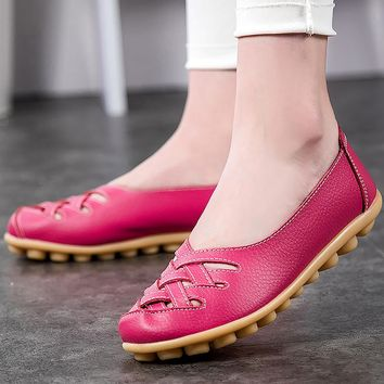 Shallow women shoes 2018 fashion Pigskin Leather ladies shoes loafers flats large size 35-44 casual shoes oxford 20 colors shoes