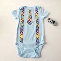 Baby Body Suit,  Boys Baby One Piece, Bodysuit with Tie, Blue Boy Body Suit, Size 6 to 9 mo