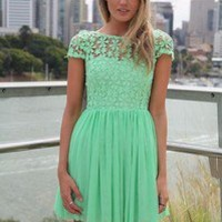 Size Medium 10 Mint Green Lace Cocktail Dress Retail $80