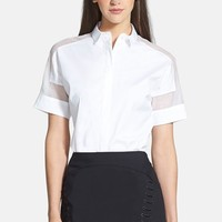 Women's Lafayette 148 New York Sheer Inset Stretch Cotton Blouse,