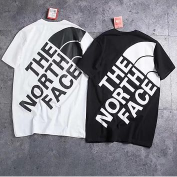 """""""The North Face"""" Summer Trending Women Men Stylish Embroidery Back Big Logo Print Short Sleeve Round Collar T-Shirt Top I13410-1"""