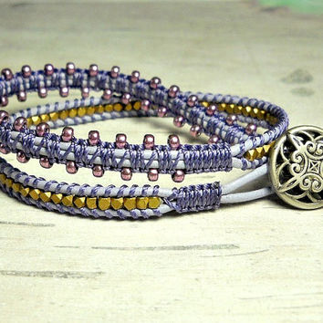 Lilac Leather Wrap Bracelet, Wrap Macrame Bracelet, Wrap Around, Bead Bracelet