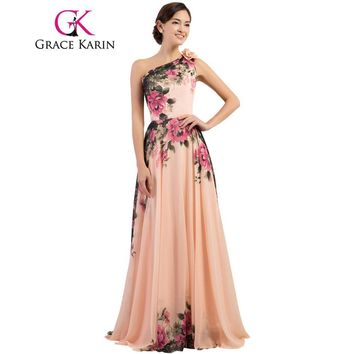 Grace Karin Sexy One Shoulder Long Evening Dress Floral Flower Pattern Long Party Dress Evening Gowns Chiffon 2017