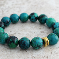 Hot Sale! Blue Green Chrysocolla Bracelet Large Bracelet Gift for Her Gift for Mom Chunky Bead Bracelet Chrysocolla Jewelry Sale