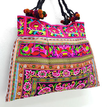 Thai Hill Tribe Bag Pom Pom Hmong Embroidered Ethnic Purse Woven Bag Hippie Bag Hobo Bag Boho Bag Shoulder Bag: Hot Pink Black
