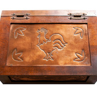 Vintage Bread Box, Wooden Bread Box, Punched Copper Rooster, Farmhouse, Rustic, Primitive Kitchen Decor, Kitchen Storage, Folk Art