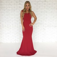 Perfect Duet Bow Back Maxi Dress In Red