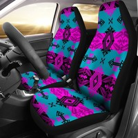 Sovereign Nation Teal and Pink Set of 2 Car Seat Covers